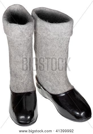 Pair Of Felt Boots In Black Rubber Galosh