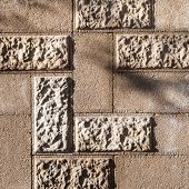 picture of cinder block  - Masonry of cinder block with decorative elements grunge background - JPG