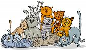 stock photo of yellow tabby  - Cartoon Illustration of Happy Cats or Kittens Group - JPG