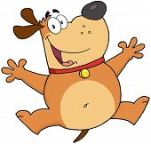 stock photo of animated cartoon  - Happy Brown Fat Dog Jumping Cartoon Character - JPG
