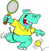 Cartoon hippo playing tennis