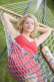 Woman Sleeping In Hammock