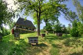 pic of household farm  - old wooden house a museum Uzhhorod Ukraine - JPG