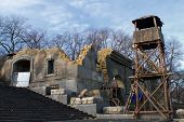 The Ruins Of An Old Building, And An Observation Tower On The Potemkin Stairs In Odessa