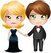 stock photo of chibi  - A vector illustration of a man and woman dressed in elegant evening wear - JPG