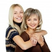 Happy mother and teen daughter portrait over white, mother's day