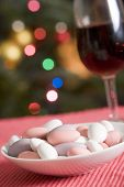 Dish Of Sugared Almonds With Red Wine