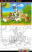 Purebred Dogs Cartoon For Coloring Book poster