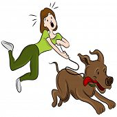 image of dog-walker  - An image of a woman trying to walk her dog - JPG