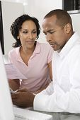 African American couple worried about domestic bill poster