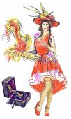 image of vaudeville  - A hand drawn illustration of beautiful  - JPG