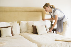 pic of house cleaning  - Female maid cleaning hotel room - JPG