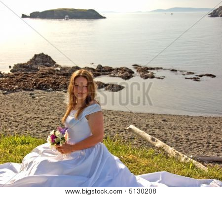 Pretty Brunette Bride On Beach