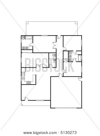 Picture or photo of a single family house plan vector for Free single family home floor plans