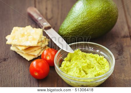 Avocado Cream,biscuits And Small Tomatoes