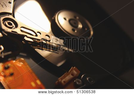 Opened Hard Drive on Black Background