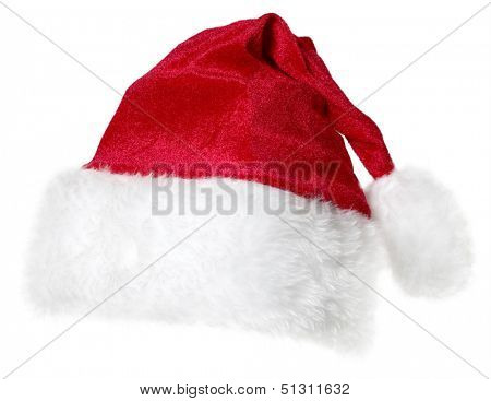 red Santa Claus cap isolated on a white background