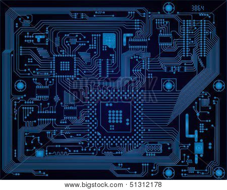 Dark Blue Industrial Electronic Circuit Board Vector Abstract Background