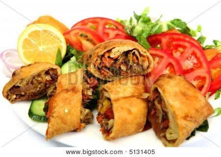 Vegetable Spring Roll And Salad