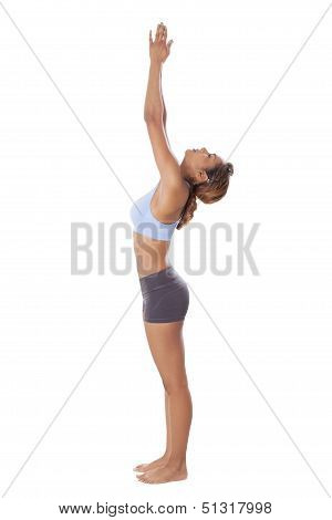 Young Woman Shows Proper Yoga Technique.