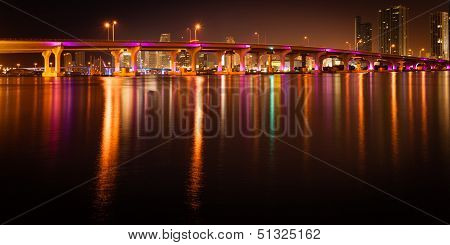 Macarthur Causeway Bridge At Night