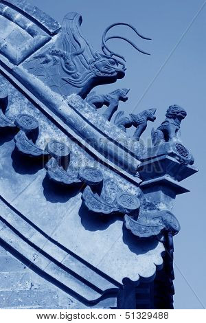 Beast Sculpture In The Eaves In A Temple, China
