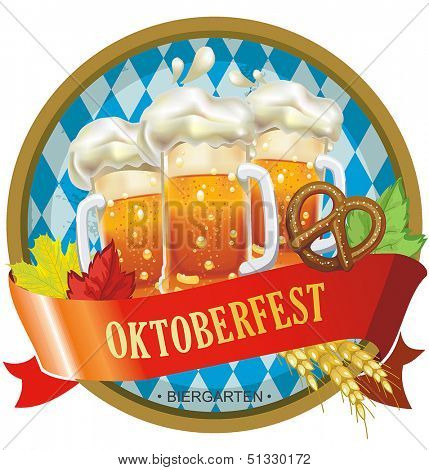 Beautiful Oktoberfest label with beer and pretzel. Vector illustration