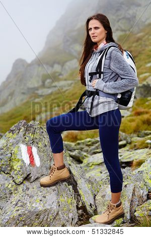 Woman Hiker Standing On The Mountain Rocks
