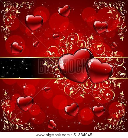Hearts with gold ornate elements on red background