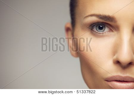 Young Woman Half Face Closeup