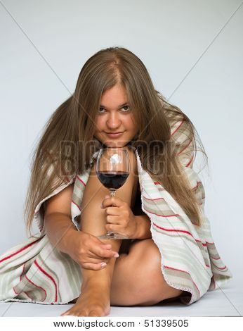 Happy Woman Red Wine