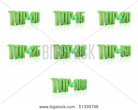 Set of Tops. Green on white background. 3D illustration.