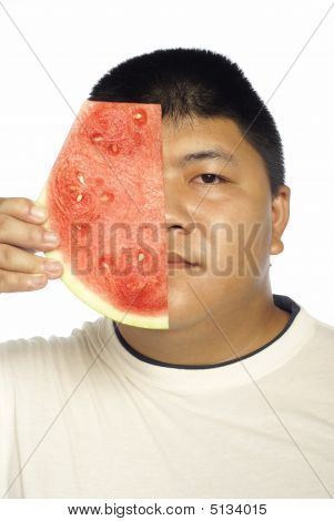 Asian Man And Water Melon