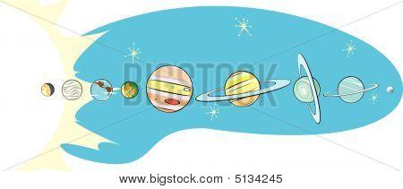 Mapa de retro Sistema Solar