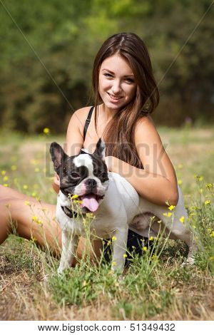 Smiling Teen Girl And Her Pet