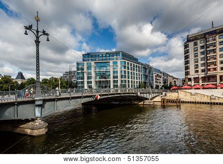 Friedrichstrasse Bridge Over The Spree River In Berlin, Germany