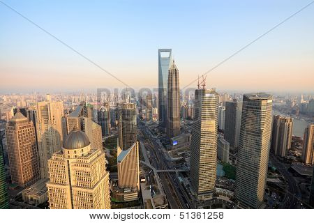 Aerial View Of Shanghai At Dusk From The Oriental Pearl Tower
