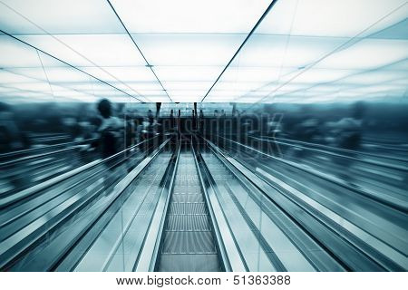 Moving Escalator In Modern Hall