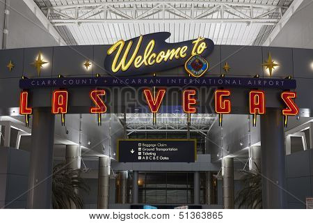A Welcome To Las Vegas Sign At Mccarran Airport In Las Vegas, Nv On July 01, 2013