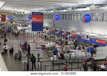 Check In Area At Minneapolis International Airport In Minnesota On July 02, 2013