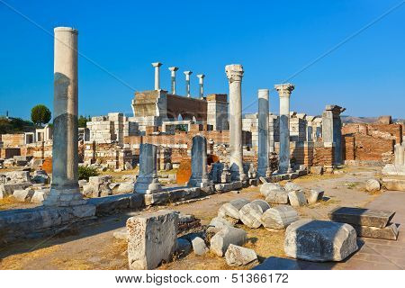 Ruins Of St. Johns Basilica At Selcuk Ephesus Turkey