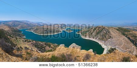 Panoramic View From Ancient City Of Pergamon To The Lake - Turkey
