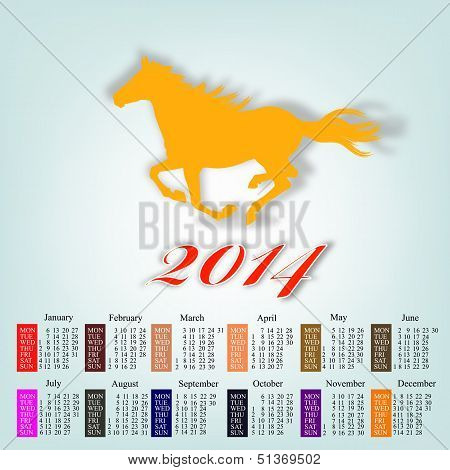 The New Year Horse. Calendar 2014