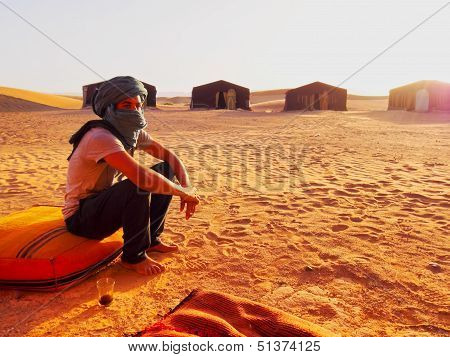Berber Man On Zagora Desert In Morocco