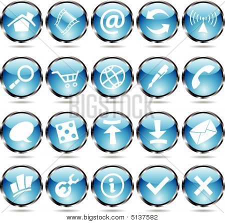 Blue Round Icons