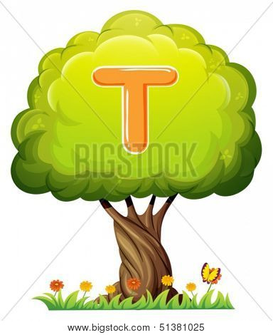 Illustration of a tree with a letter T on a white background