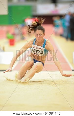 LINZ, AUSTRIA - JANUARY 31 Anna Svecova (#506 Czech Republic) places 6th in women's long jump event on January 31, 2013 in Linz, Austria.
