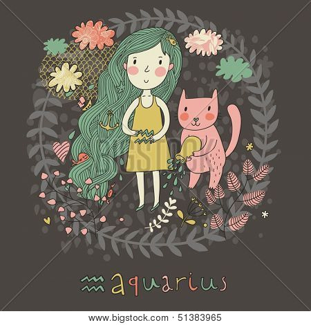 Cute zodiac sign - Aquarius. Vector illustration. Little girl with long beautiful hair with her pink cat in the clouds and flowers. Doodle hand-drawn style in dark colors