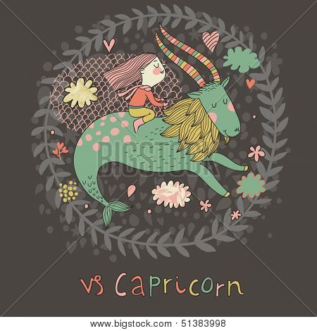 Cute zodiac sign - Capricorn. Vector illustration. Little girl riding on the big blue ibex in the sky with clouds. Doodle hand-drawn style in dark colors