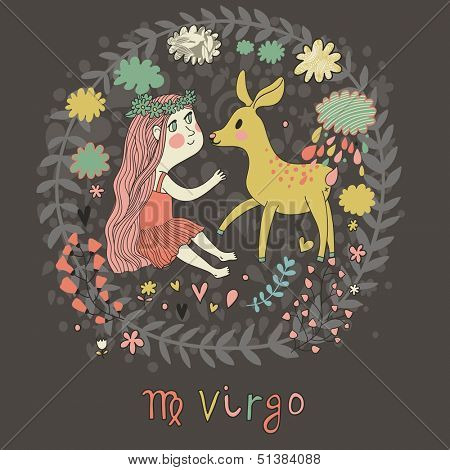 Cute zodiac sign - Virgo. Vector illustration. Little beautiful girl with long hair playing with lovely fawn with in the clouds and flowers. Doodle hand-drawn style in dark colors